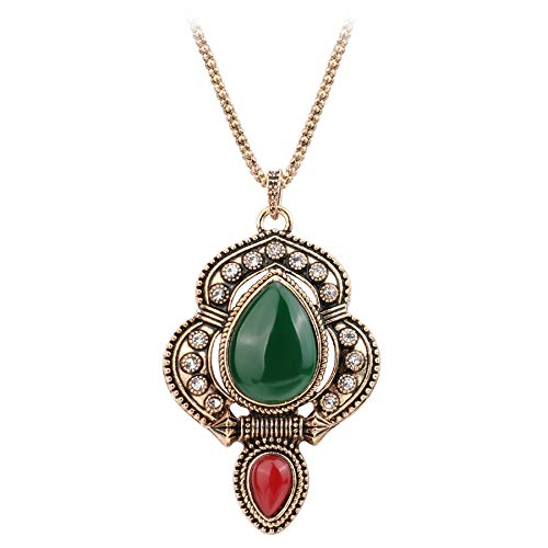 - Nattaphol New Ethnic Big Pendant Necklace for Women Antique Gold Crystal Turkey Vintage Jewelry Wholesale