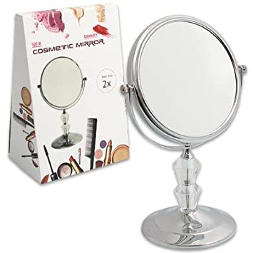 Amazoncom 13 Silver Metal Spinning Makeup Vanity Mirror with