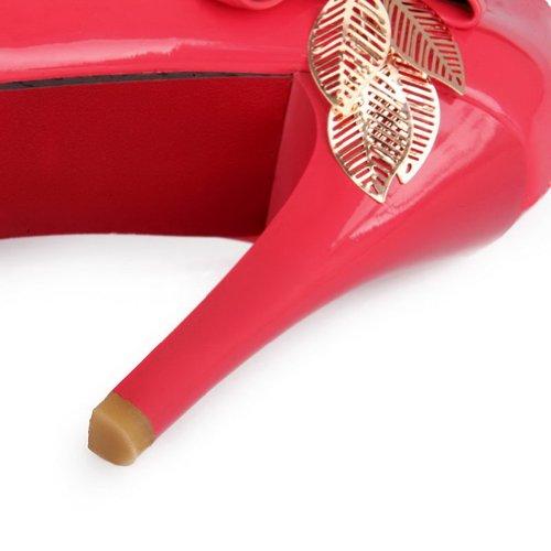 AllhqFashion Mujer Slip-on Charol Tacón Alto Puntera Redonda ZapatosdeTacón Rojo