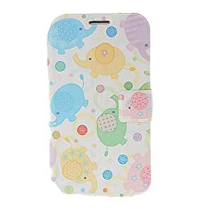 Cartoon Elephant Pattern Leather Case with Stand for Samsung Galaxy Note 2 N7100