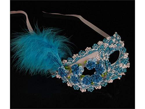 Yyanliii Divertente Maschera Di Piume Di Fiori Creativi Maschera Mascherata Per La Festa Veneziana Di Halloween (Blu)