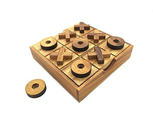 RATREE SHOP Handmade Tic Tac Toe Wooden Board Games Noughts