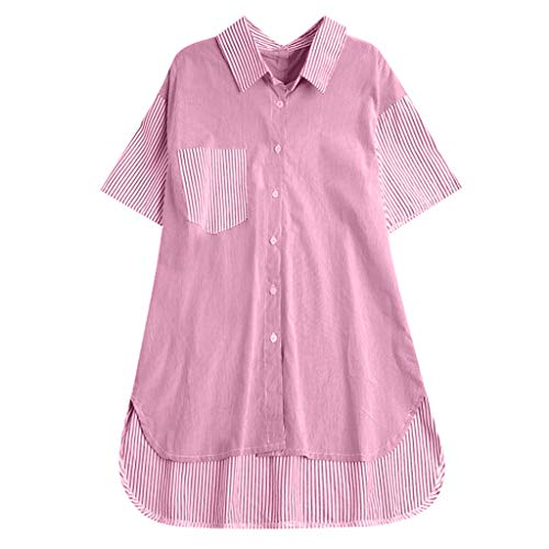 POQOQ T Shirt Dress Button Down Stand Collar Striped Stitching Top Plus Size Women Tunic Blouse Pink (Pbs Sb)