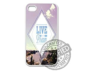 Apple iPhone 5/5s WHITE PLASTIC Case Awesome Hipster Inspirational Quote Live Your Dream 2 Design For Apple iPhone 5/5s Plastic Case WHITE