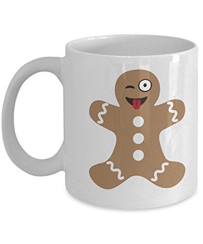 (Lplpol Gingerbread Man Cookie Emoji Christmas Funny Mag-White)