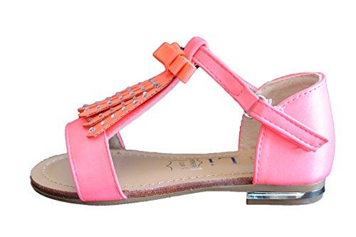 jili-sandale claquette-rose fluo-fille