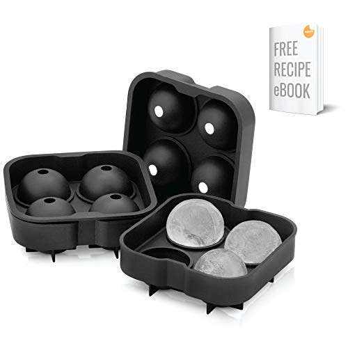 2 Ice Ball Mold by Artic Chill | Makes Eight (8) Ice Spheres | Keeps your Whiskey Chilled Longer Than Ice Cubes | Made from BPA-Free and FDA-Approved Silicone | Free Cocktail Recipe E-Book Included