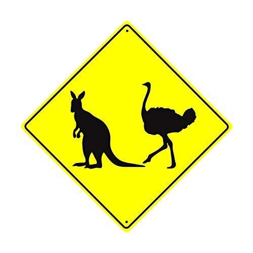 Road Sign Kangaroo (Shirllyn New Quality Metal Road Sign Kangaroo Ostrich Crossing Xing Wildlife Animal Caution Safety Crossing Funny Yellow Diamond Tin Sign Home Decor 12x12 Inches)