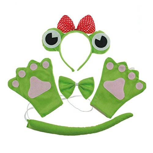 San Tokra Cosplay Party Costume Frog Headband Bowtie Tail Set Halloween Masquerade (Kids, Princess) - Princess And Frog Halloween Costume