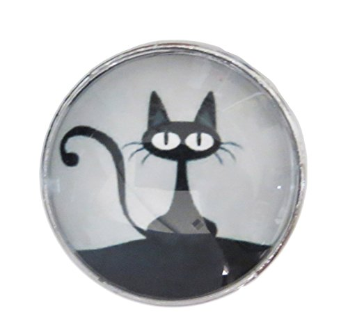 Black Cat Glass Knob with Metal Base for Dresser Drawers, Cabinet Drawers, Kitchen Cabinets