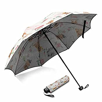 Dogs with Rose, Yorkshire Terriers Foldable Portable Outdoor Travel Compact Waterproof Umbrella