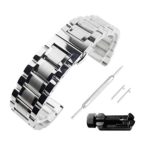 Beauty7 21mm Quick Release Stainless Steel Polished Brushed Mixed Link Watch Band Straps Replacement Bracelet Straight & Curved End Butterfly Deployment Clasp Women Men Women Watches Smartwatch Gear