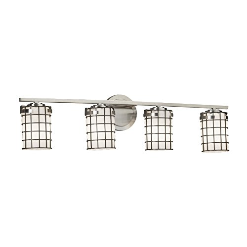 Wire Glass - Atlas 4-Light Bath Bar - Cylinder with Flat Rim Wire Cage and Blown Glass Shade in Grid with Opal - Brushed Nickel Finish - LED
