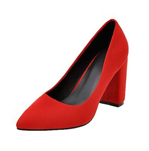 Donna Chiusa Puro Rosso Plastica flats Punta Ballet Alto Voguezone009 Tacco Tirare dUgqTttR