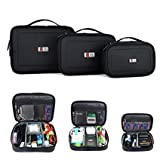 BUBM 3pcs/set Waterproof Universal Electronics Accessories Travel Organizer Carrying Case Camera Lens Charger Cable Organiser Triple Set(Large, Medium, Small)-Black