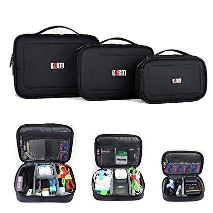 BUBM 3pcs/set Waterproof Universal Electronics Accessories Travel Organizer Carrying Case Camera Lens Charger Cable Organiser Triple Set(Large, Medium, Small)-Black by BUBM