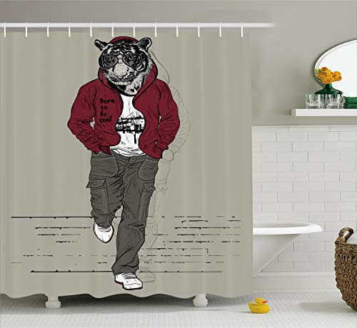 Ambesonne Modern Shower Curtain, Hipster Tiger in Sportswear Taking a Walk Adaptation to Urban City Theme, Fabric Bathroom Decor Set with Hooks, 70 Inches, Ruby Sage
