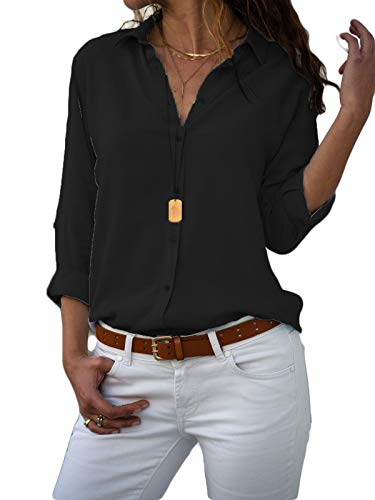 MISSLOOK Women's Button Down Shirts Roll-up Sleeve Blouse V Neck Casual Tunics Solid Color Tops with Pockets - Black-1 M