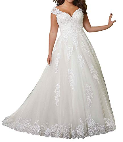 Wedding Dress Lace Bride Dresses A Line Wedding Gowns Cap Sleeves Appliques Ivory