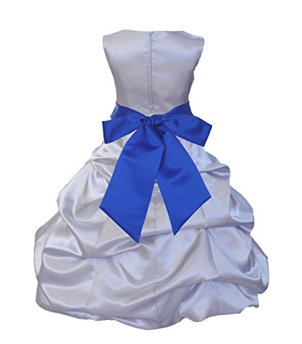 ekidsbridal Silver Satin Pick-Up Bubble Flower Girl Dress Stunning Dress 806S 8