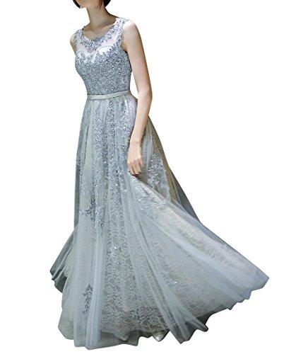 A Braun Spitze Linie Braut Damen La Abendkleider Promkleider Silber Kleider Hundkragen Bodenlang Marie Abiballkleider OAwtw6xzq
