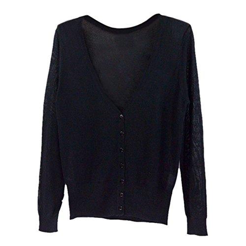 SODIAL 女性のカジュアルな薄いセーター ファッション的なVネックのフル袖 女性のニットカーディガン コート 黒
