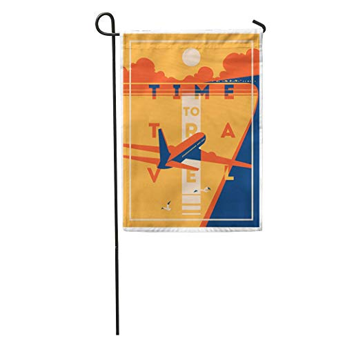 NfuquyamDoormat Garden Flag Vintage Time to Travel and Summer Holiday Plane Airline Airplane Home Yard House Decor Barnner Outdoor Stand 12x18 Inches Flag