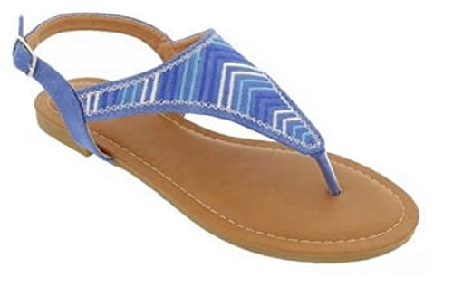 Top Blue Quality Slingback T Strap Vegan Leather Flat Heel Open Toe Sandalias De Cuero Playa Tacon Bajo New Fun Cheap Comfortable Roman Junior Thong Sandal Flip Flop For Women Teen Girl  Size 6  Blue