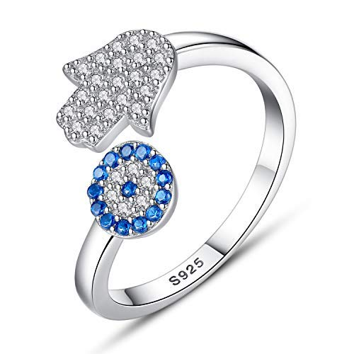 925 Sterling Silver Evil Eye Rings Womens Cubic Zirconia Adjustable Open Hamsa Ring for Ring Size 6-8