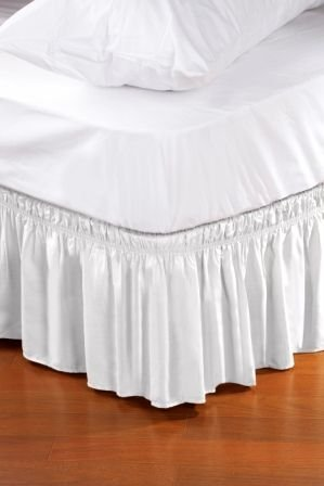 Wrap Around Style Easy Fit Elastic Bed Ruffles for Twin and Full Size Beds, White (Size Storage Bed Full Lift)