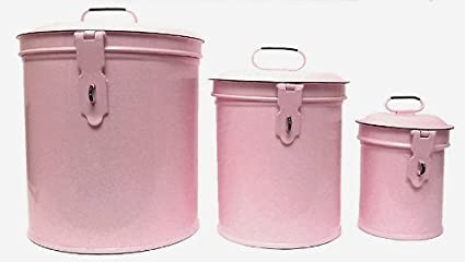 Vintage Style Canister Set ~ Kitchen Storage Canisters E1 Decorative Containers ~ Shabby Chic Pink Enamel & Amazon.com - Vintage Style Canister Set ~ Kitchen Storage Canisters ...
