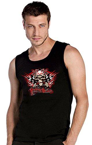 Hot Rod Garage V8 Rockabilly Kustom Racing Speed Skull Werkstatt schwarze Top Tank T-Shirt -2423