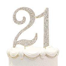 Hatcher lee Bling Crystal 21 Birthday Cake Topper - Best Keepsake   21st Party Decorations Gold