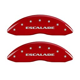 MGP Caliper Covers 35014SESCRD \'ESCALADE\' Engraved Caliper Cover with Red Powder Coat Finish and Silver Characters, (Set of 4)