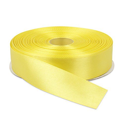 Topenca Supplies 1 Inches x 50 Yards Double Face Solid Satin Ribbon Roll, - Faces People With Round