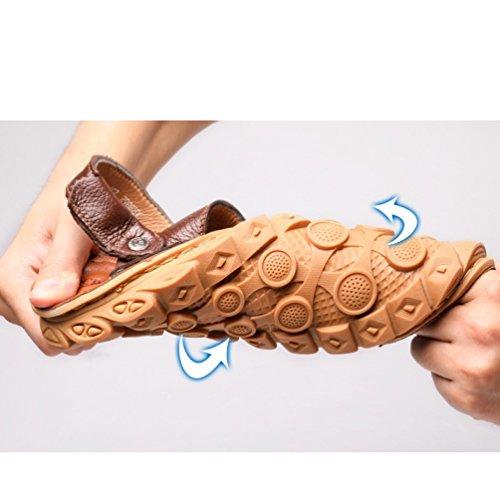 Sandali in sandali casual uso manzo antiscivolo fondo da tendine e doppio pantofole in a spiaggia scarpe di uomo morbidi pelle pelle estate Marrone da WFL d5wngqRz8d