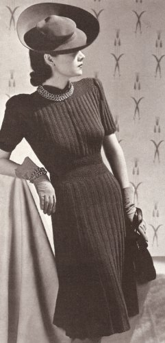 Vintage Knitting PATTERN to make - Designer Dress 1930s Vogue. NOT a finished item, this is a pattern and/or instructions to make the item only.