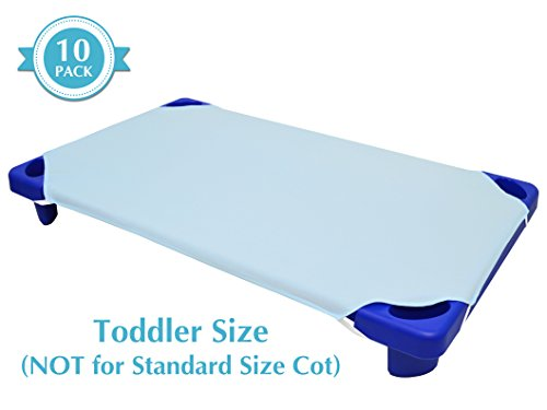 - American Baby Company 10-Piece 100% Cotton Percale  Toddler Day Care Cot Sheet, Blue, 23