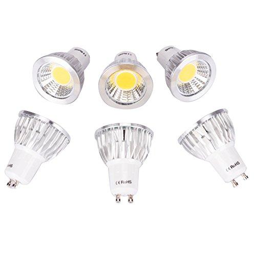 6 Pack GU10 7W COB LED Bulbs Non-dimmable Spotlight 75W Halogen Bulb Equivalent 3000k Warm White 120 Beam Angle Energy Saving Lighting Ceiling Down light - 75w Halogen Light Bar