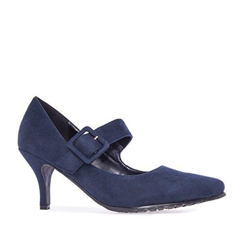 Andres Machado.AM5103.Salones Mary Jane Ante.Tallas Pequeñas y Grandes32/35,42/45. Mujer. Azul