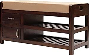 Shilpi Handmade Solid Wood Shoe Rack with Seating Cushioned Shoe Rack with Drawer Brown Finish Bench