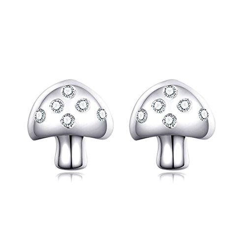 Women 925 Sterling Silver Fashion Cute Inlay Crystal Mushroom-Shaped Earrings (Cute Mushroom Costume)