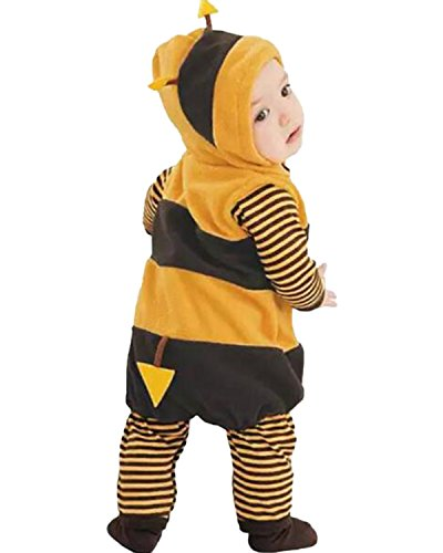 Kidsform Unisex Baby Halloween Costume Cosplay Animal Ladybug Flannel Romper Pajamas Outfits Dress Up Hoodie Jumpsuit Yellow 12-18M by Kidsform (Image #5)