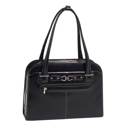 McKleinUSA OAK GROVE 96635 Black Leather Fly-Through Checkpoint-Friendly Ladies' Briefcase, Bags Central