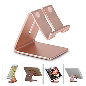 Honsky NEW VERSION Solid Aluminum Cell Phone Tablet Desk Charging Stand, Universal Hands Free Display Desktop Holder Cradle for iPhone iPad Mini Android Cellphone Home Office Travel Kitchen, Rose Gold