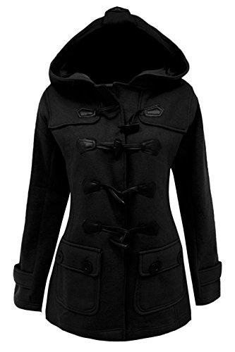 cexi bascule chaude style veste COUTURE FEMMES Noir manteau polaire duffle capuche rWzRzna