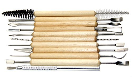 11-pc Durable Pottery and Sculpting Tools Set of 21 Tools, Works with all Clay types Professional Quality