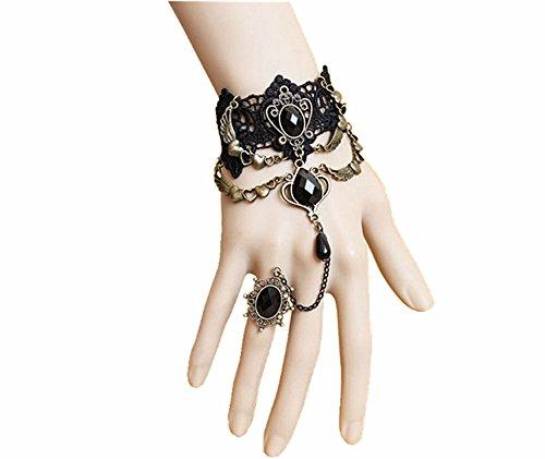 Sunling SL Victorian Gothic Mask Headband Choker Necklace Bracelet Costume Wing Earring -
