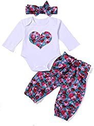 i-Auto Time Newborn Baby Girl Clothes Heart Printed Romper+Floral Pants/Skit+Headband