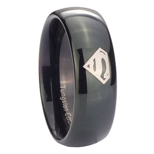 8MM Tungsten Carbide Superman Shiny Black Dome Engraved Ring Size 13